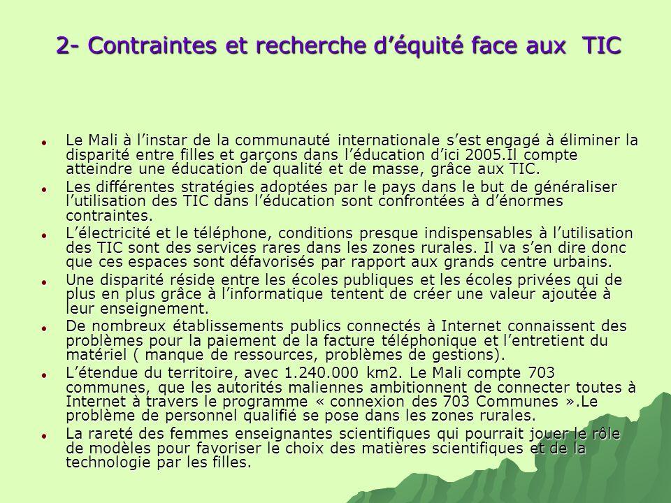 2- Contraintes et recherche déquité face aux TIC Le Mali à linstar de la communauté internationale sest engagé à éliminer la disparité entre filles et