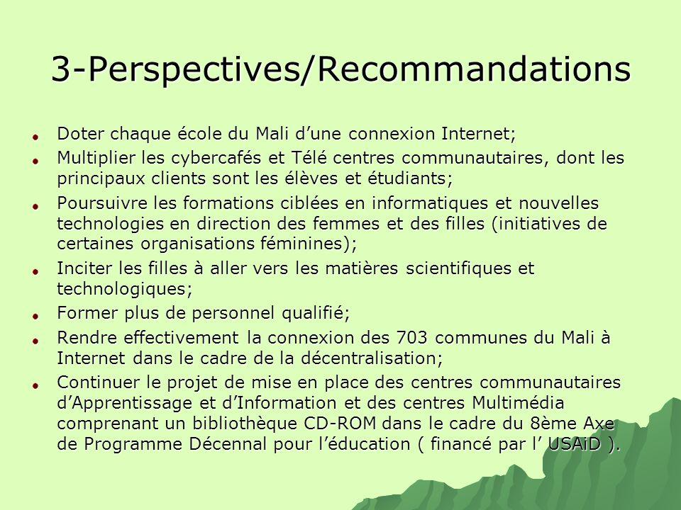 3-Perspectives/Recommandations Doter chaque école du Mali dune connexion Internet; Multiplier les cybercafés et Télé centres communautaires, dont les