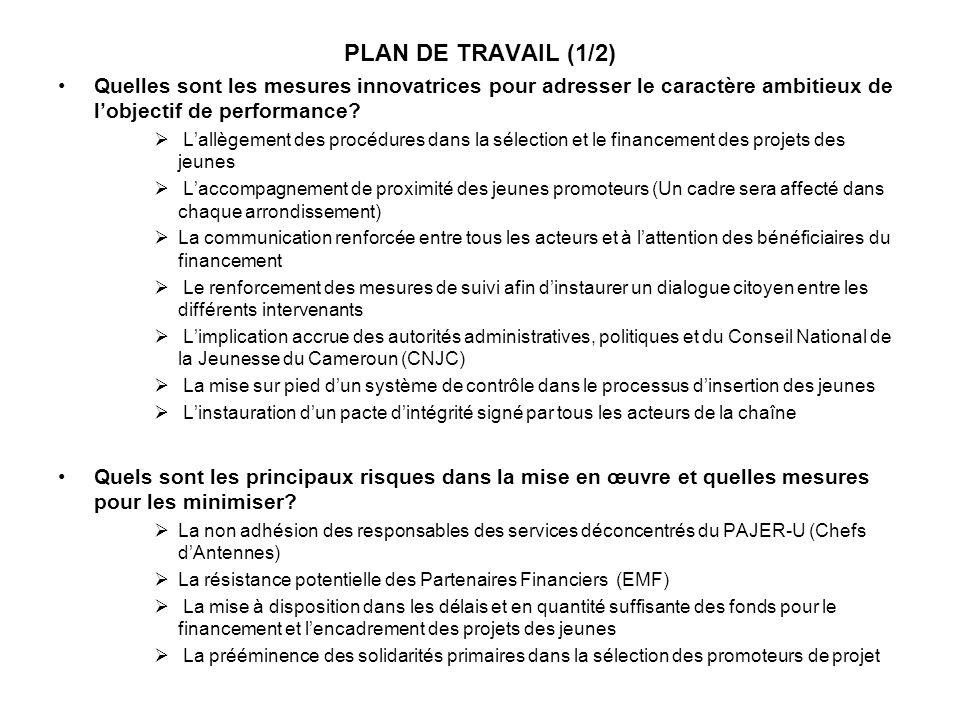 PLAN DE TRAVAIL (1/2) Quelles sont les mesures innovatrices pour adresser le caractère ambitieux de lobjectif de performance? Lallègement des procédur
