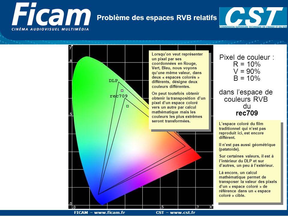 FICAM – www.ficam.fr CST – www.cst.fr Problème des espaces RVB relatifs Pixel de couleur : R = 10% V = 90% B = 10% dans lespace de couleurs RVB du rec