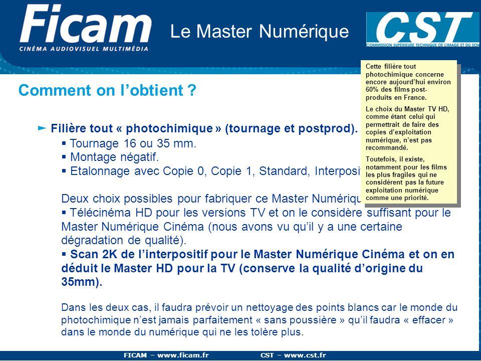 FICAM – www.ficam.fr CST – www.cst.fr Le Master Numérique Comment on lobtient ? Filière tout « photochimique » (tournage et postprod). Tournage 16 ou