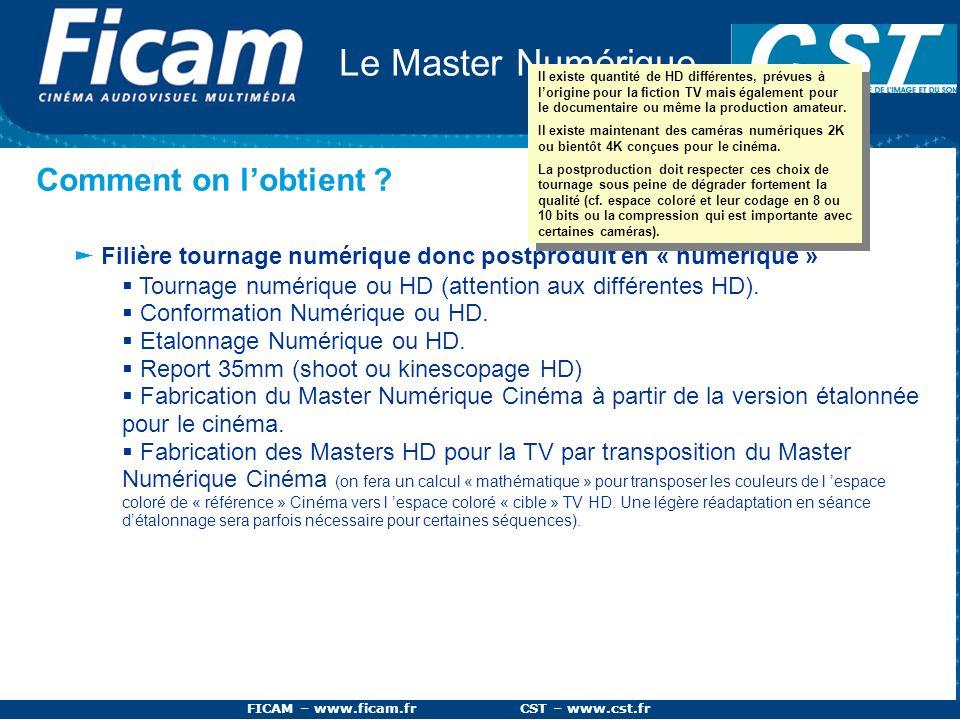 FICAM – www.ficam.fr CST – www.cst.fr Le Master Numérique Comment on lobtient ? Filière tournage numérique donc postproduit en « numérique » Tournage