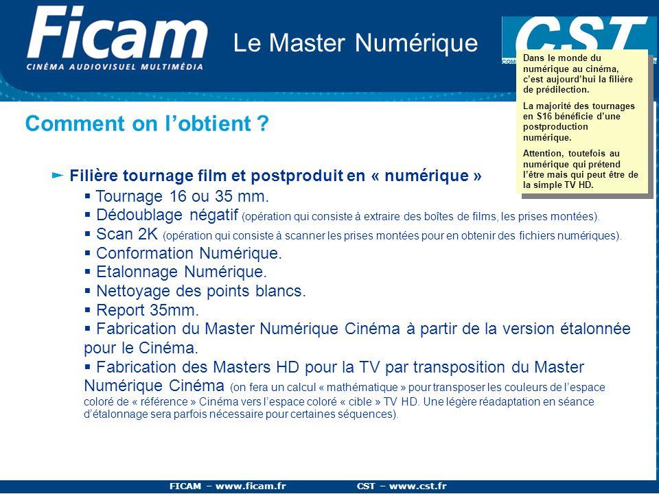 FICAM – www.ficam.fr CST – www.cst.fr Le Master Numérique Comment on lobtient ? Filière tournage film et postproduit en « numérique » Tournage 16 ou 3