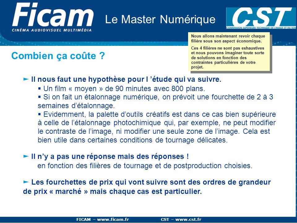 FICAM – www.ficam.fr CST – www.cst.fr Le Master Numérique Combien ça coûte ? Il nous faut une hypothèse pour l étude qui va suivre. Un film « moyen »