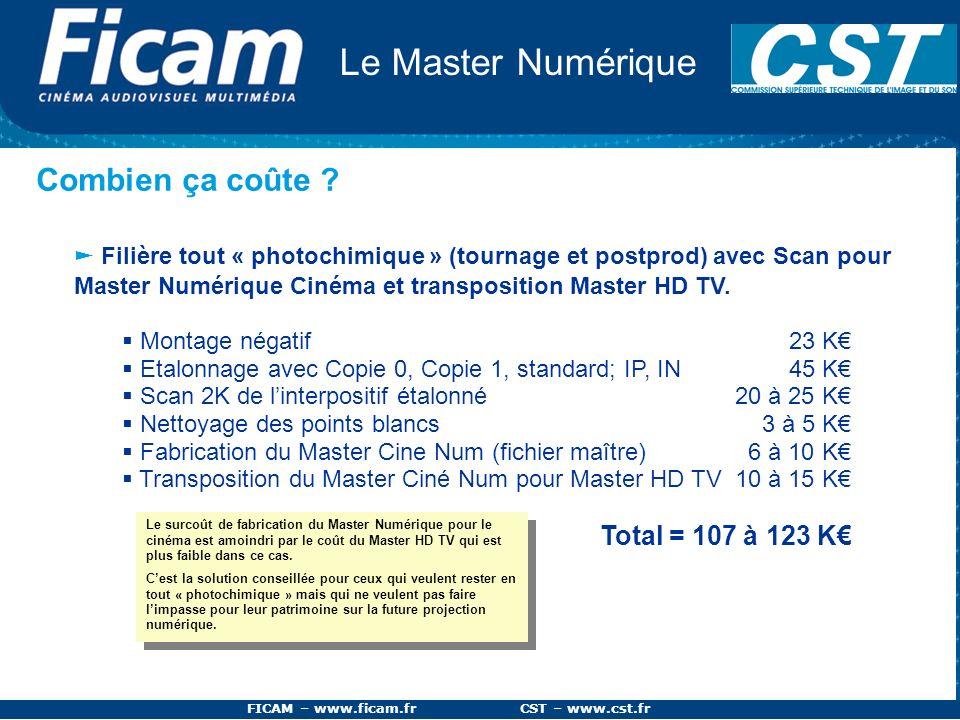 FICAM – www.ficam.fr CST – www.cst.fr Le Master Numérique Combien ça coûte ? Filière tout « photochimique » (tournage et postprod) avec Scan pour Mast