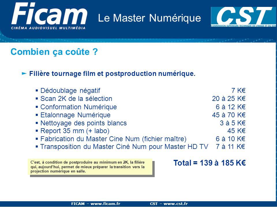 FICAM – www.ficam.fr CST – www.cst.fr Le Master Numérique Combien ça coûte ? Filière tournage film et postproduction numérique. Dédoublage négatif 7 K