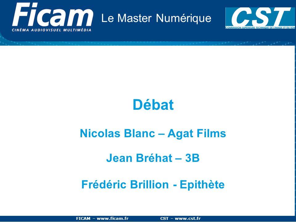 FICAM – www.ficam.fr CST – www.cst.fr Le Master Numérique Débat Nicolas Blanc – Agat Films Jean Bréhat – 3B Frédéric Brillion - Epithète