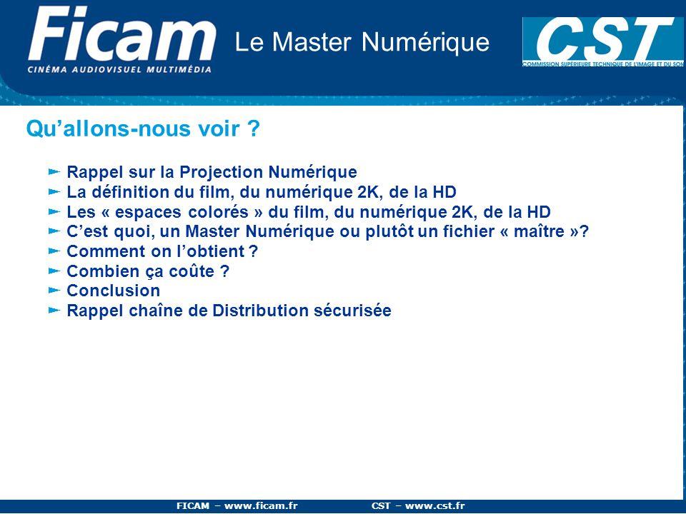 FICAM – www.ficam.fr CST – www.cst.fr Le Master Numérique Quallons-nous voir ? Rappel sur la Projection Numérique La définition du film, du numérique