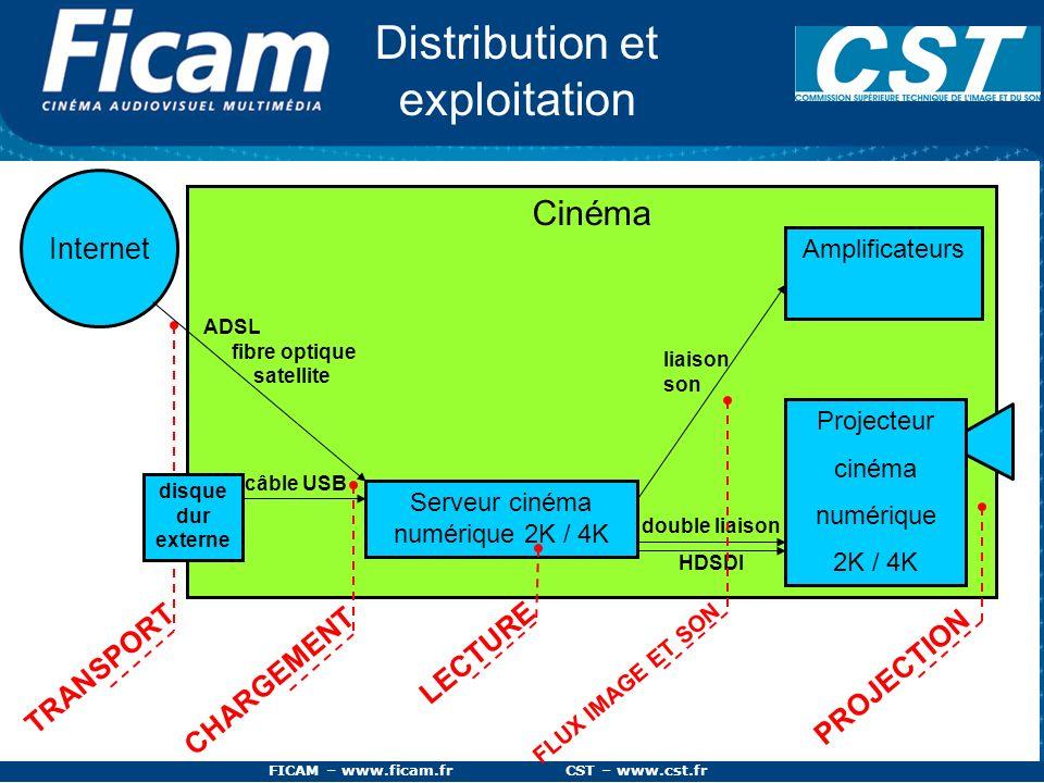 FICAM – www.ficam.fr CST – www.cst.fr Cinéma Serveur cinéma numérique 2K / 4K double liaison HDSDI disque dur externe câble USB Internet ADSL fibre op
