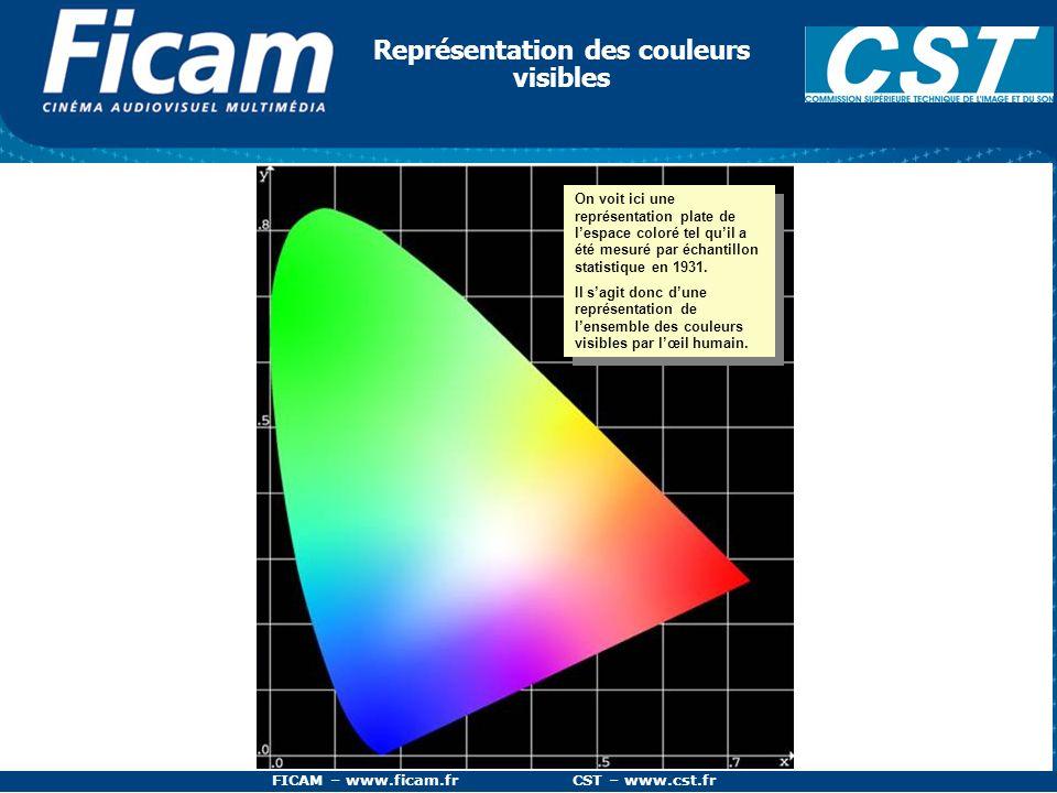FICAM – www.ficam.fr CST – www.cst.fr Représentation des couleurs visibles On voit ici une représentation plate de lespace coloré tel quil a été mesur