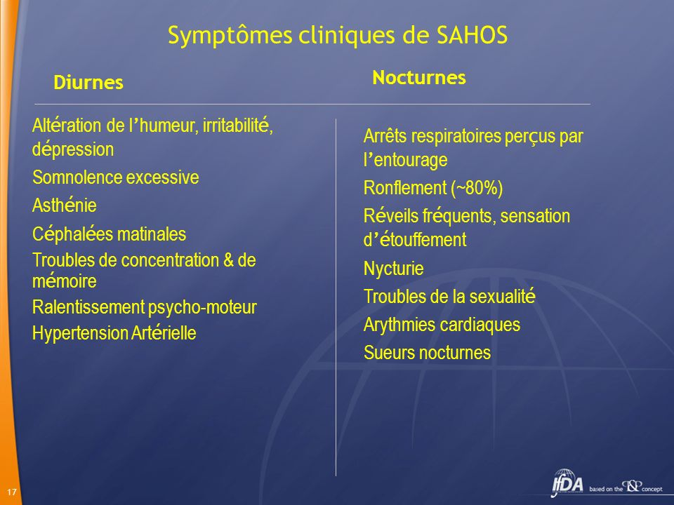 17 Symptômes cliniques de SAHOS Diurnes Nocturnes Alt é ration de l humeur, irritabilit é, d é pression Somnolence excessive Asth é nie C é phal é es