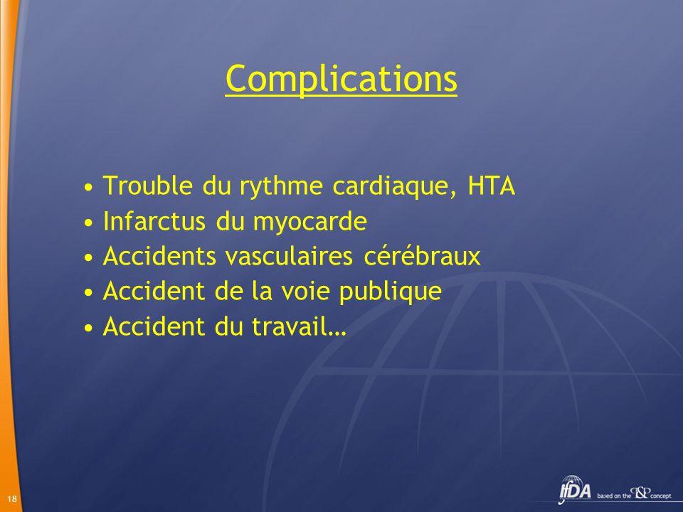 18 Complications Trouble du rythme cardiaque, HTA Infarctus du myocarde Accidents vasculaires cérébraux Accident de la voie publique Accident du trava