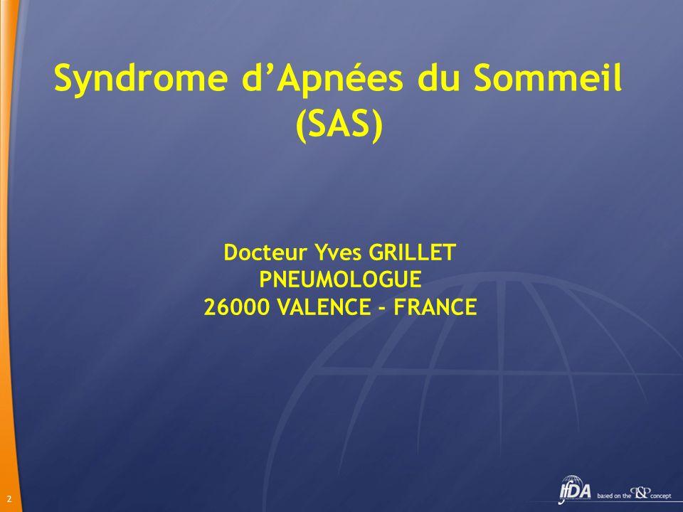 2 Syndrome dApnées du Sommeil (SAS) Docteur Yves GRILLET PNEUMOLOGUE 26000 VALENCE - FRANCE