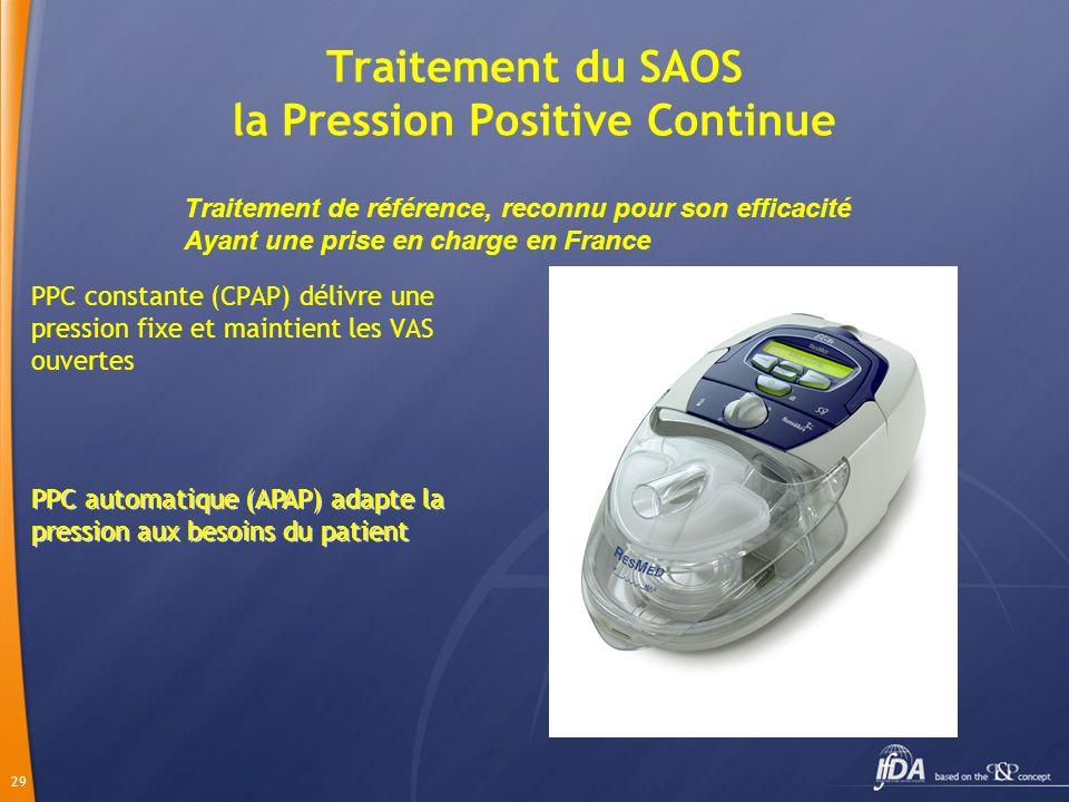 29 Traitement du SAOS la Pression Positive Continue PPC constante (CPAP) délivre une pression fixe et maintient les VAS ouvertes PPC automatique (APAP