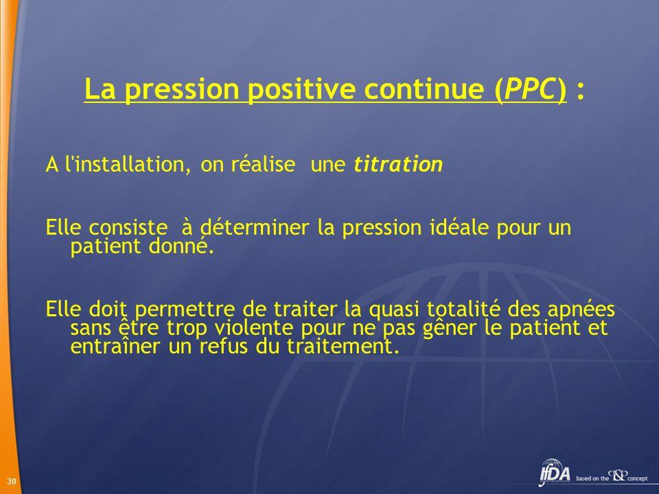 30 La pression positive continue (PPC) : A l'installation, on réalise une titration Elle consiste à déterminer la pression idéale pour un patient donn