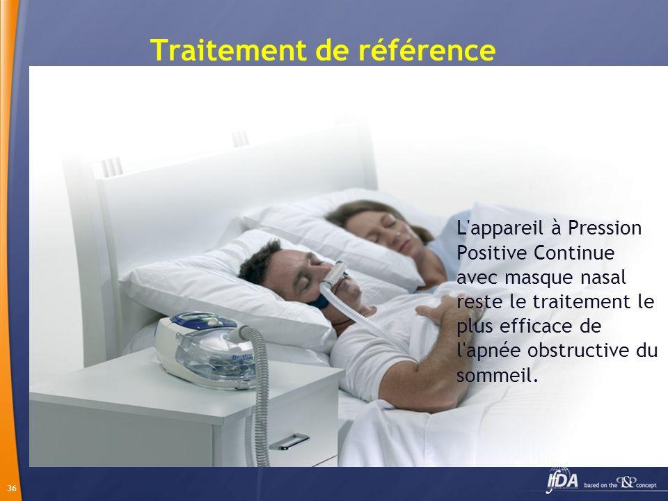 36 Traitement de référence L'appareil à Pression Positive Continue avec masque nasal reste le traitement le plus efficace de l'apnée obstructive du so