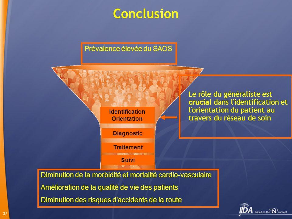 37 Le rôle du généraliste est crucial dans l'identification et l'orientation du patient au travers du réseau de soin Conclusion Diagnostic Traitement