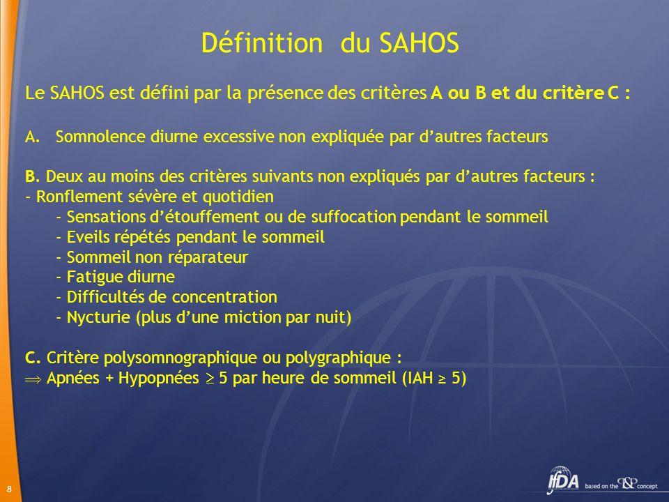 8 Définition du SAHOS Le SAHOS est défini par la présence des critères A ou B et du critère C : A.Somnolence diurne excessive non expliquée par dautre