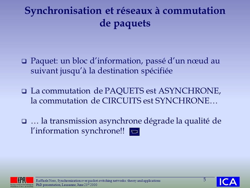 Raffaele Noro, Synchronization over packet-switching networks: theory and applications PhD presentation, Lausanne, June 21 st 2000 5 Synchronisation e