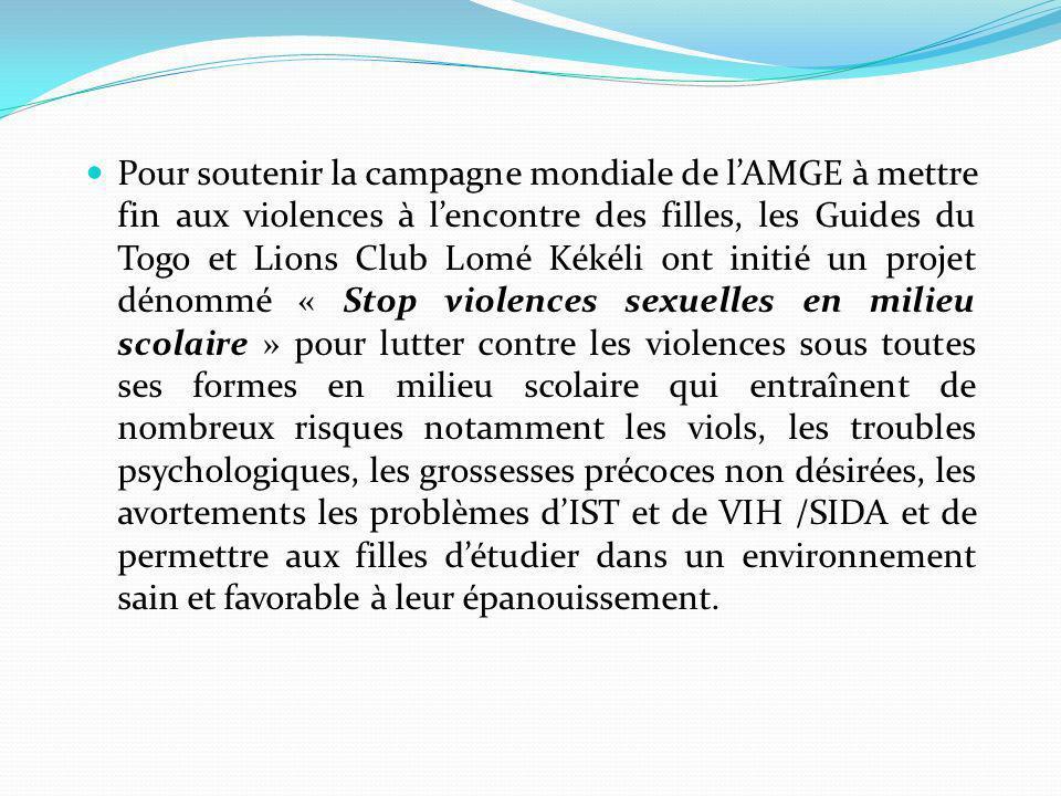 Pour soutenir la campagne mondiale de lAMGE à mettre fin aux violences à lencontre des filles, les Guides du Togo et Lions Club Lomé Kékéli ont initié