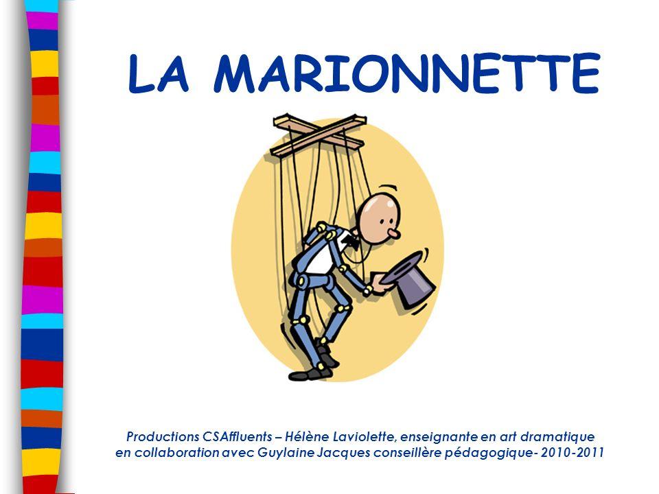 LA MARIONNETTE Productions CSAffluents – Hélène Laviolette, enseignante en art dramatique en collaboration avec Guylaine Jacques conseillère pédagogiq