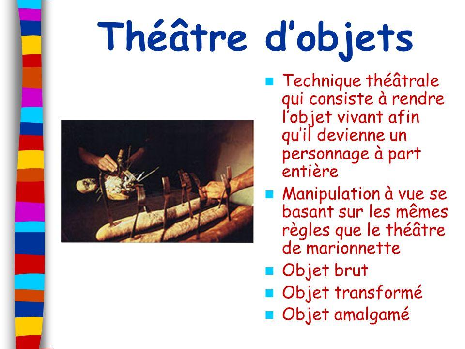 Théâtre dobjets Technique théâtrale qui consiste à rendre lobjet vivant afin quil devienne un personnage à part entière Manipulation à vue se basant s