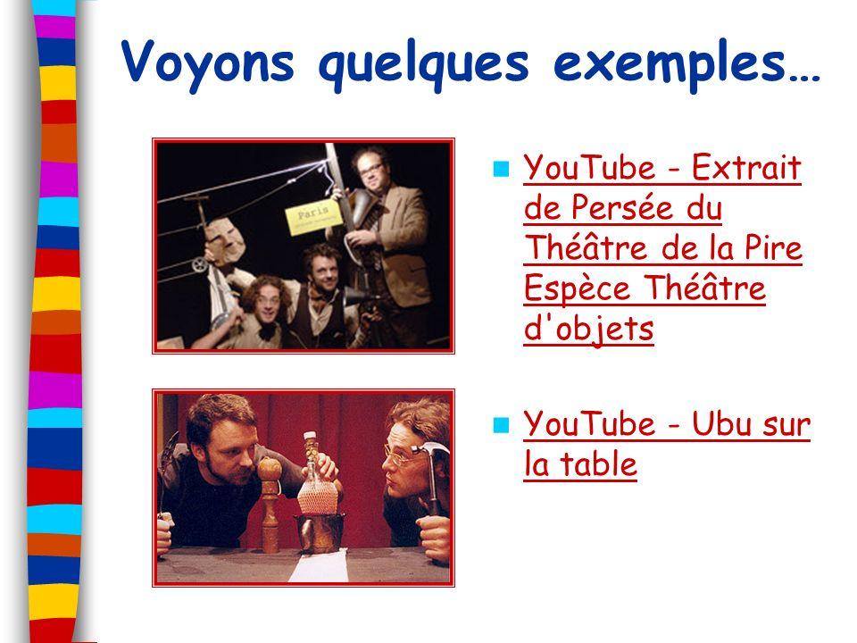 Voyons quelques exemples… YouTube - Extrait de Persée du Théâtre de la Pire Espèce Théâtre d'objets YouTube - Extrait de Persée du Théâtre de la Pire