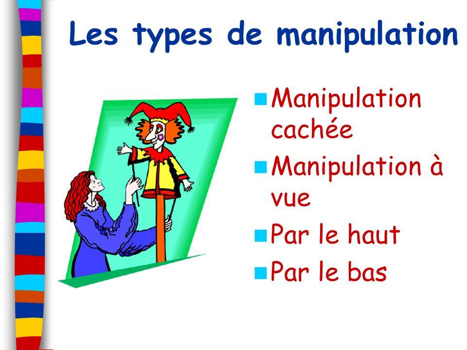 Lorsquon voit le manipulateur, cest une manipulation à… Réponse : VUE Lorsque le manipulateur nest pas visible, cest une manipulation… Réponse : CACHÉE Quels sont les deux niveaux utilisés pour la manipulation .