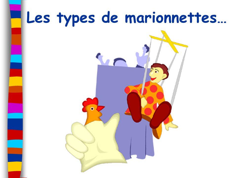 La marionnette à gaine Tête Corps = Gaine (gant) Main et bras du manipulateur = squelette Manipulation = par le bas (cachée ou à vue) Ex : YouTube - Théâtre ChignoloYouTube - Théâtre Chignolo