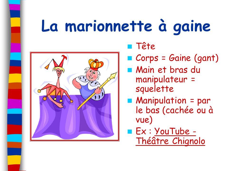 La marionnette à gaine Tête Corps = Gaine (gant) Main et bras du manipulateur = squelette Manipulation = par le bas (cachée ou à vue) Ex : YouTube - T
