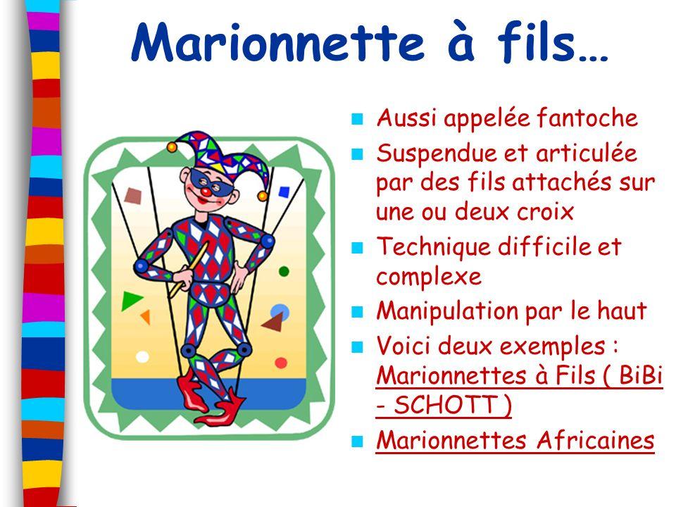 Marionnette à fils… Aussi appelée fantoche Suspendue et articulée par des fils attachés sur une ou deux croix Technique difficile et complexe Manipula