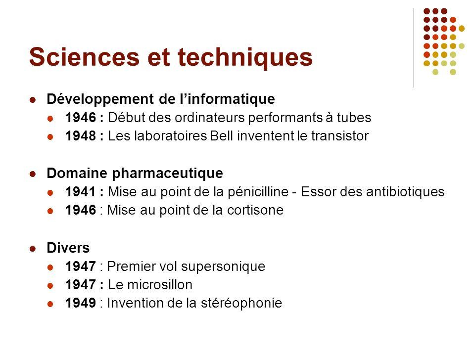 Sciences et techniques Développement de linformatique 1946 : Début des ordinateurs performants à tubes 1948 : Les laboratoires Bell inventent le trans