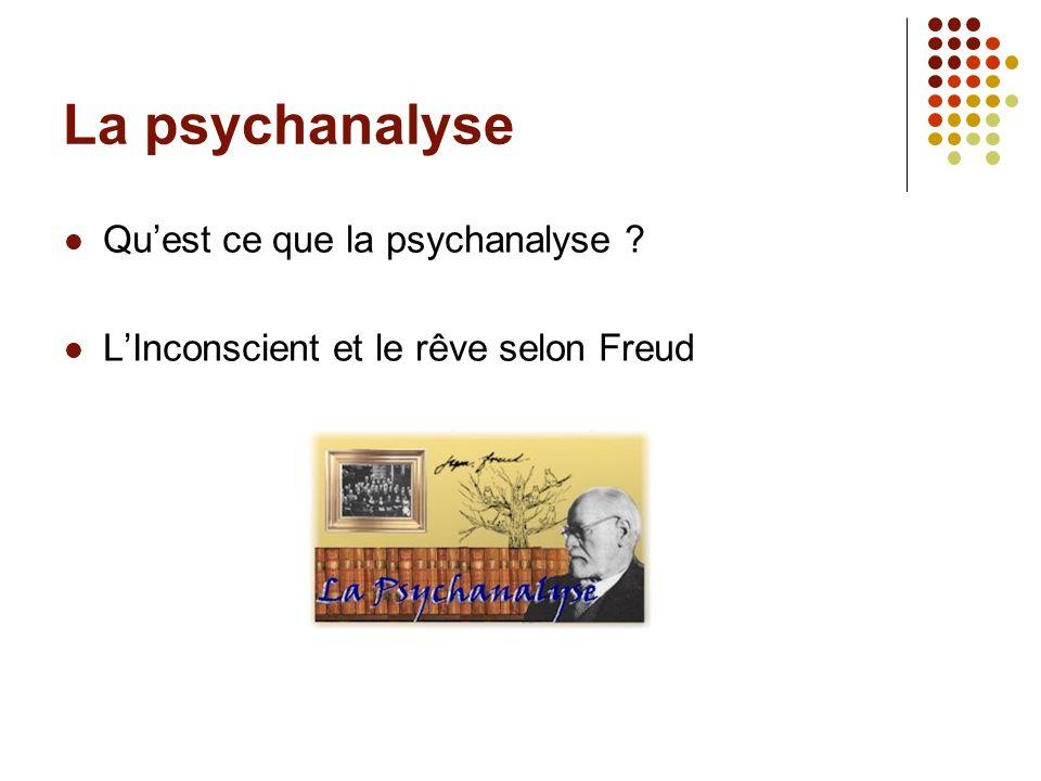 La psychanalyse Quest ce que la psychanalyse ? LInconscient et le rêve selon Freud