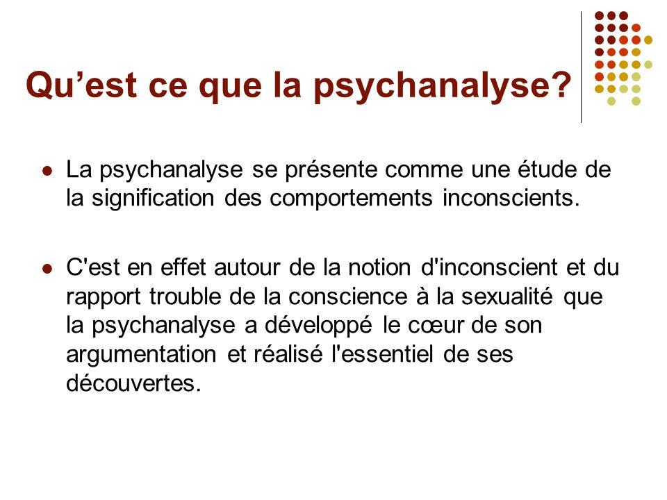 Quest ce que la psychanalyse? La psychanalyse se présente comme une étude de la signification des comportements inconscients. C'est en effet autour de