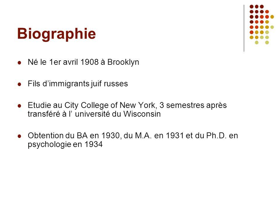 Biographie Né le 1er avril 1908 à Brooklyn Fils dimmigrants juif russes Etudie au City College of New York, 3 semestres après transféré à l université
