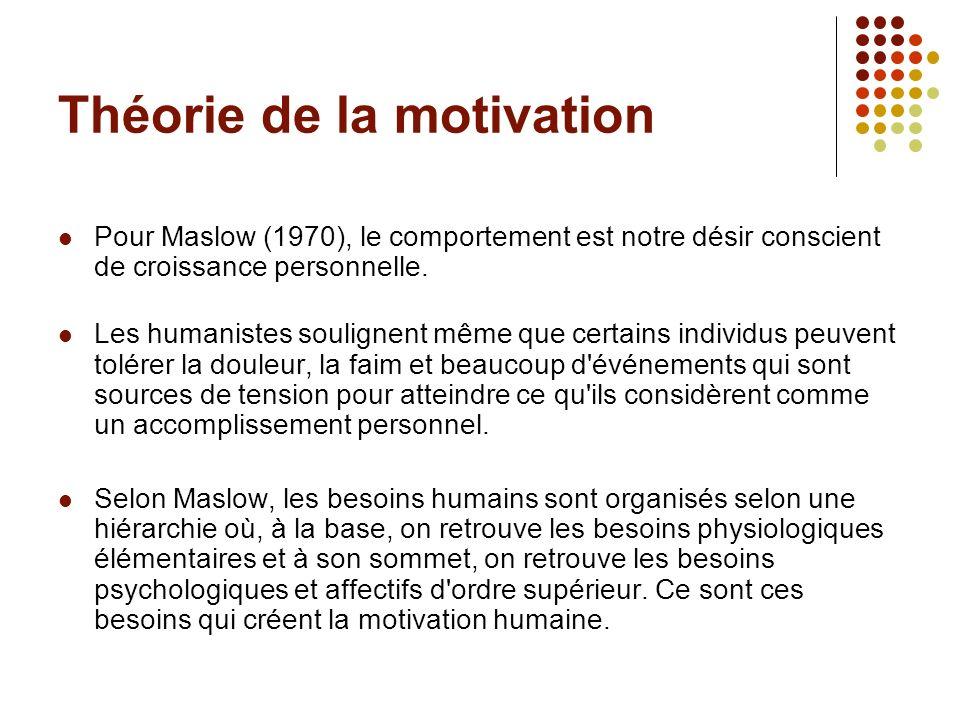 Théorie de la motivation Pour Maslow (1970), le comportement est notre désir conscient de croissance personnelle. Les humanistes soulignent même que c