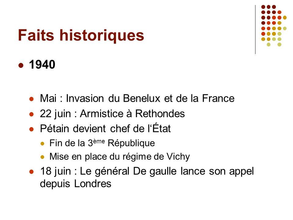 Faits historiques 1940 Mai : Invasion du Benelux et de la France 22 juin : Armistice à Rethondes Pétain devient chef de lÉtat Fin de la 3 ème Républiq