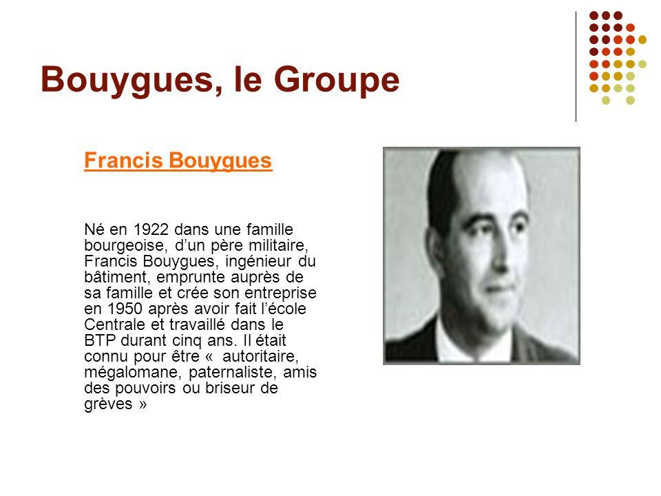 Bouygues, le Groupe Francis Bouygues Né en 1922 dans une famille bourgeoise, dun père militaire, Francis Bouygues, ingénieur du bâtiment, emprunte aup