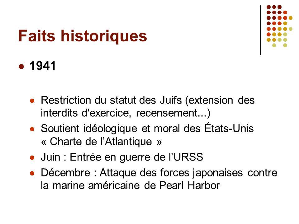 Faits historiques 1941 Restriction du statut des Juifs (extension des interdits d'exercice, recensement...) Soutient idéologique et moral des États-Un