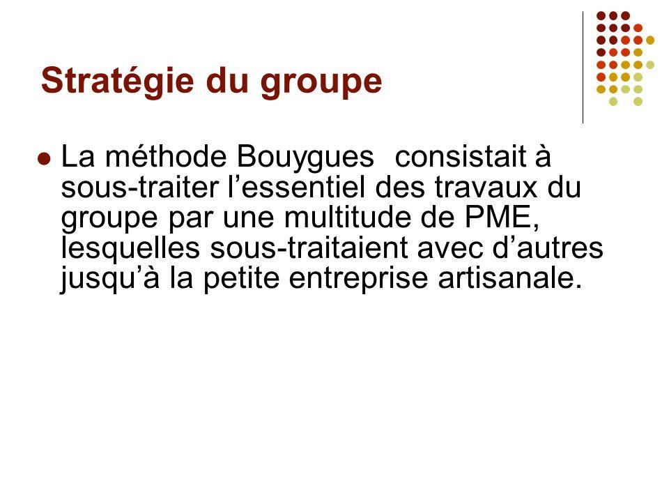 Stratégie du groupe La méthode Bouygues consistait à sous-traiter lessentiel des travaux du groupe par une multitude de PME, lesquelles sous-traitaien