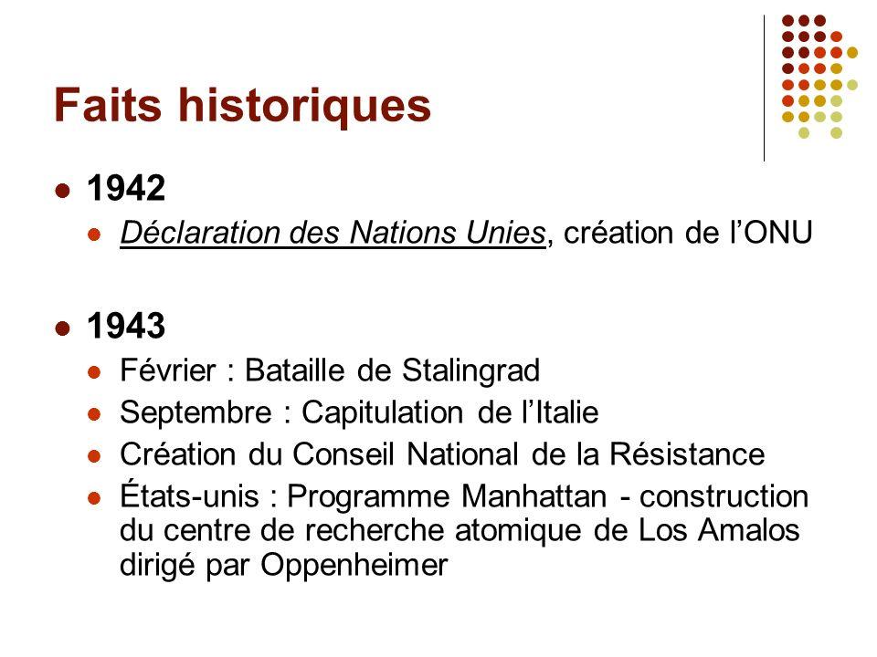 Faits historiques 1942 Déclaration des Nations Unies, création de lONU 1943 Février : Bataille de Stalingrad Septembre : Capitulation de lItalie Créat