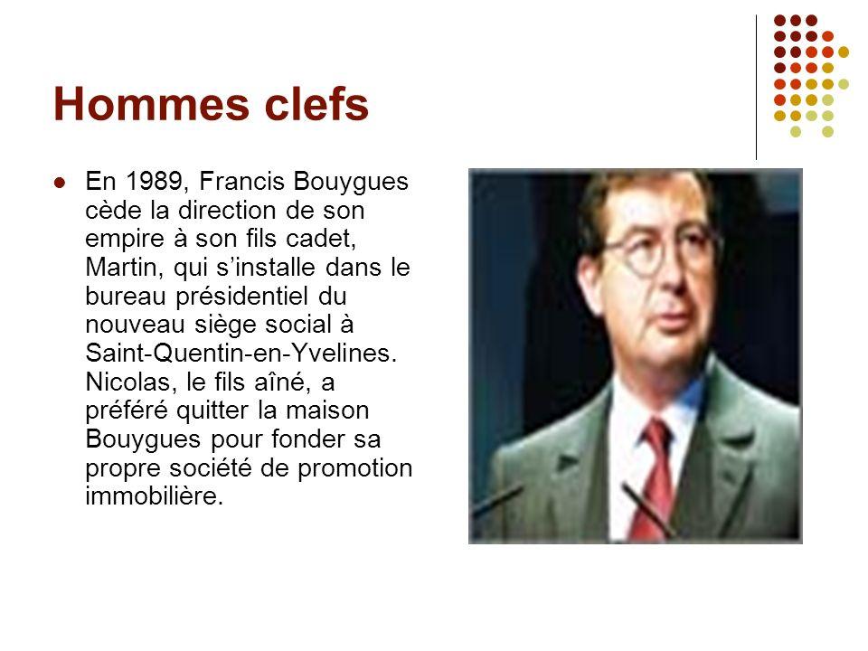 Hommes clefs En 1989, Francis Bouygues cède la direction de son empire à son fils cadet, Martin, qui sinstalle dans le bureau présidentiel du nouveau