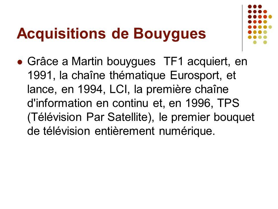 Acquisitions de Bouygues Grâce a Martin bouygues TF1 acquiert, en 1991, la chaîne thématique Eurosport, et lance, en 1994, LCI, la première chaîne d'i
