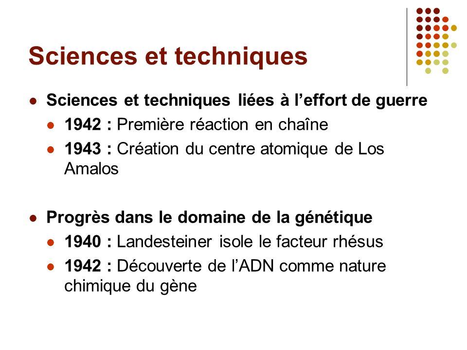 Sciences et techniques Sciences et techniques liées à leffort de guerre 1942 : Première réaction en chaîne 1943 : Création du centre atomique de Los A