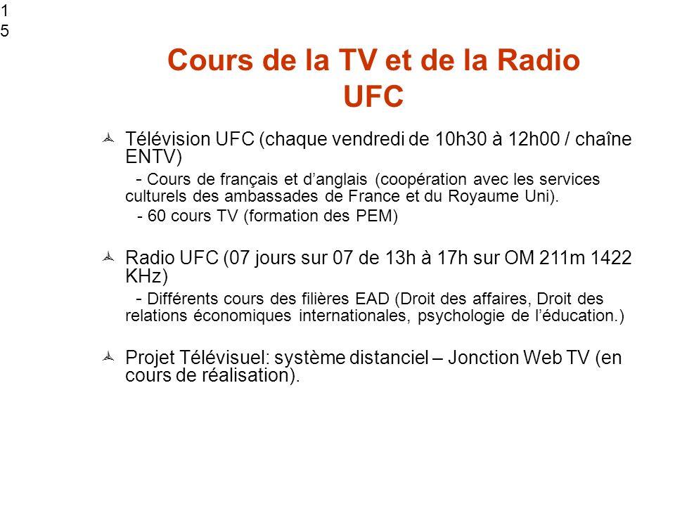 15 Cours de la TV et de la Radio UFC Télévision UFC (chaque vendredi de 10h30 à 12h00 / chaîne ENTV) - Cours de français et danglais (coopération avec les services culturels des ambassades de France et du Royaume Uni).
