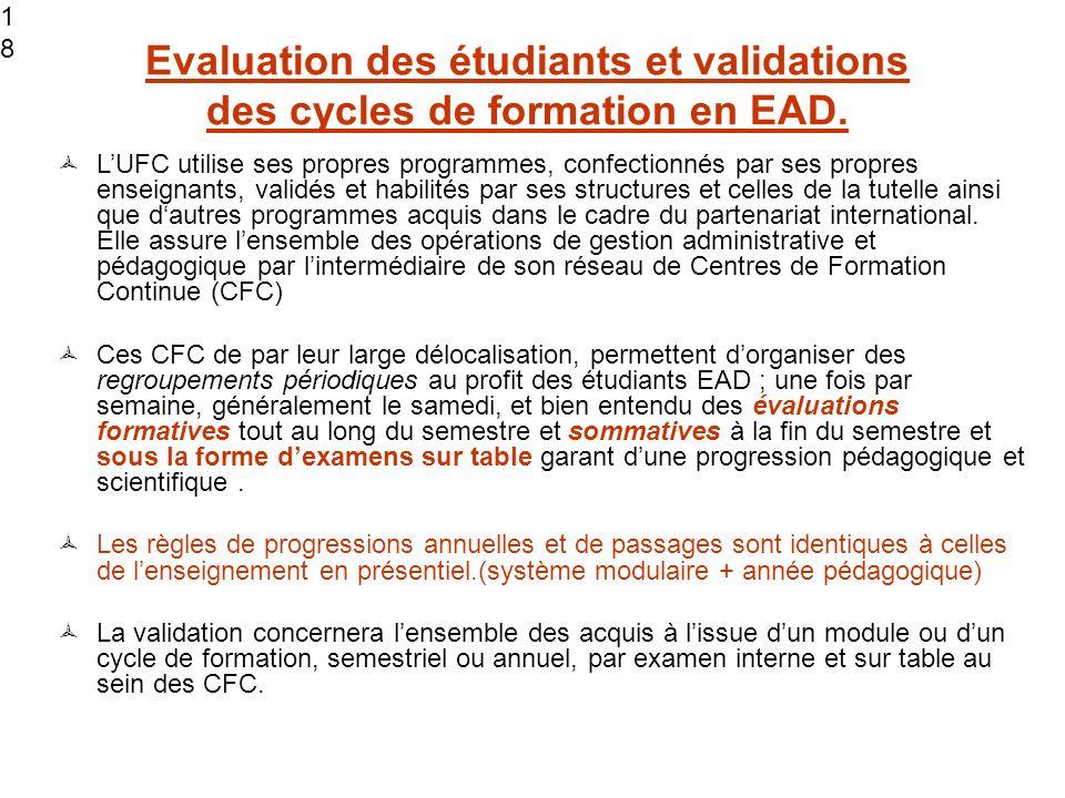 18 Evaluation des étudiants et validations des cycles de formation en EAD.