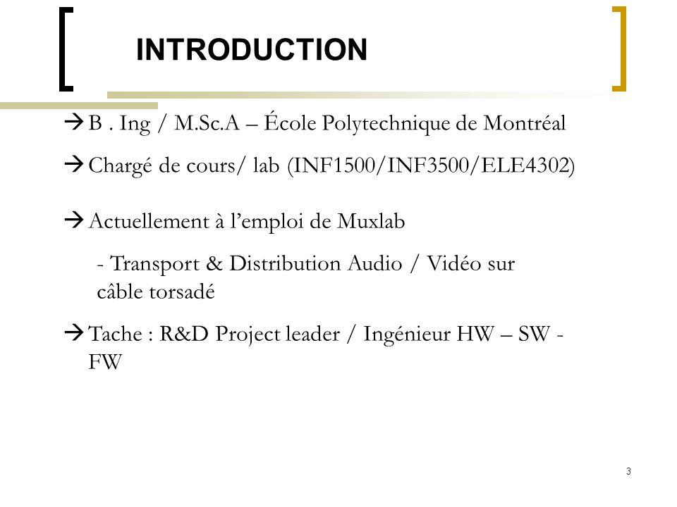 3 INTRODUCTION B. Ing / M.Sc.A – École Polytechnique de Montréal Chargé de cours/ lab (INF1500/INF3500/ELE4302) Actuellement à lemploi de Muxlab - Tra