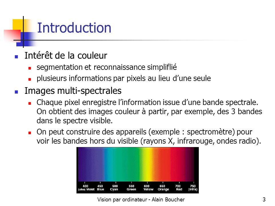 Vision par ordinateur - Alain Boucher3 Introduction Intérêt de la couleur segmentation et reconnaissance simpliflié plusieurs informations par pixels
