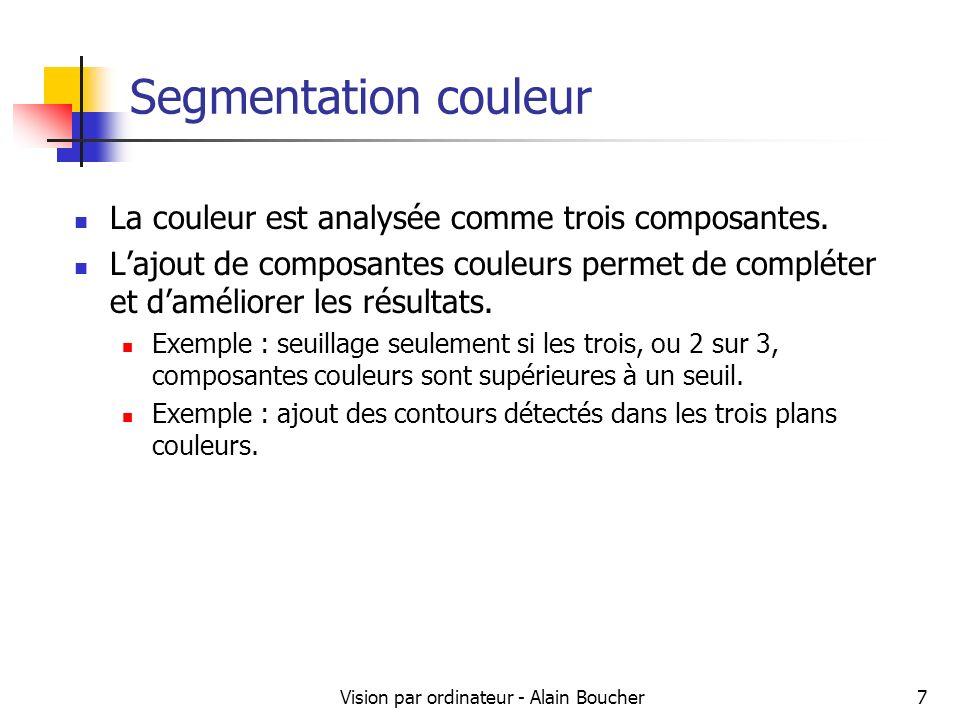 Vision par ordinateur - Alain Boucher7 Segmentation couleur La couleur est analysée comme trois composantes. Lajout de composantes couleurs permet de
