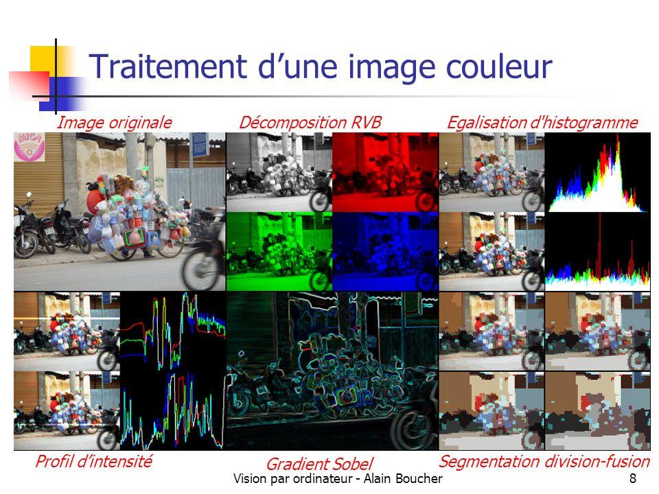 Vision par ordinateur - Alain Boucher8 Traitement dune image couleur Image originaleDécomposition RVBEgalisation d'histogramme Profil dintensité Gradi